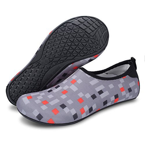Lightweight Water Gray Beach Swim for Shoes FEETCITY Aqua Shoes Yoga Mens Womens Plaid Barefoot ZIxOpqAw5