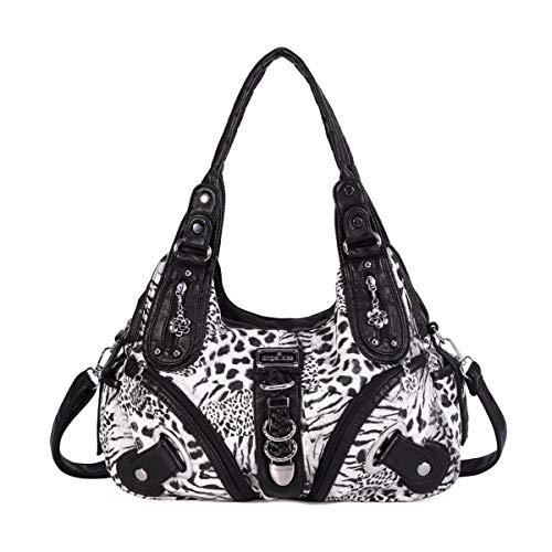 Angelkiss Women's Leopard Print Leather Hobo Shoulder Bags Satchel Purse Top-handle Handbags with Zipper Black