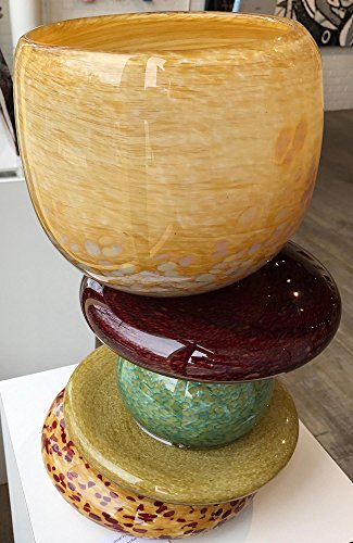 Amber Vessel - Original Glass Sculpture Stacked Stone Glasswork Modern Nature Decor Blown Glass Sculptures by Renowned Artist Andrew & Robert Madvin by The Fringe Gallery
