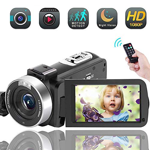 Video Camera Camcorder,Vlogging Camera for YouTube Full HD 1080P 30FPS 16X Digital Zoom Vlog Camera Support Night Vision Pause Function Time Lapse & Motion Detection