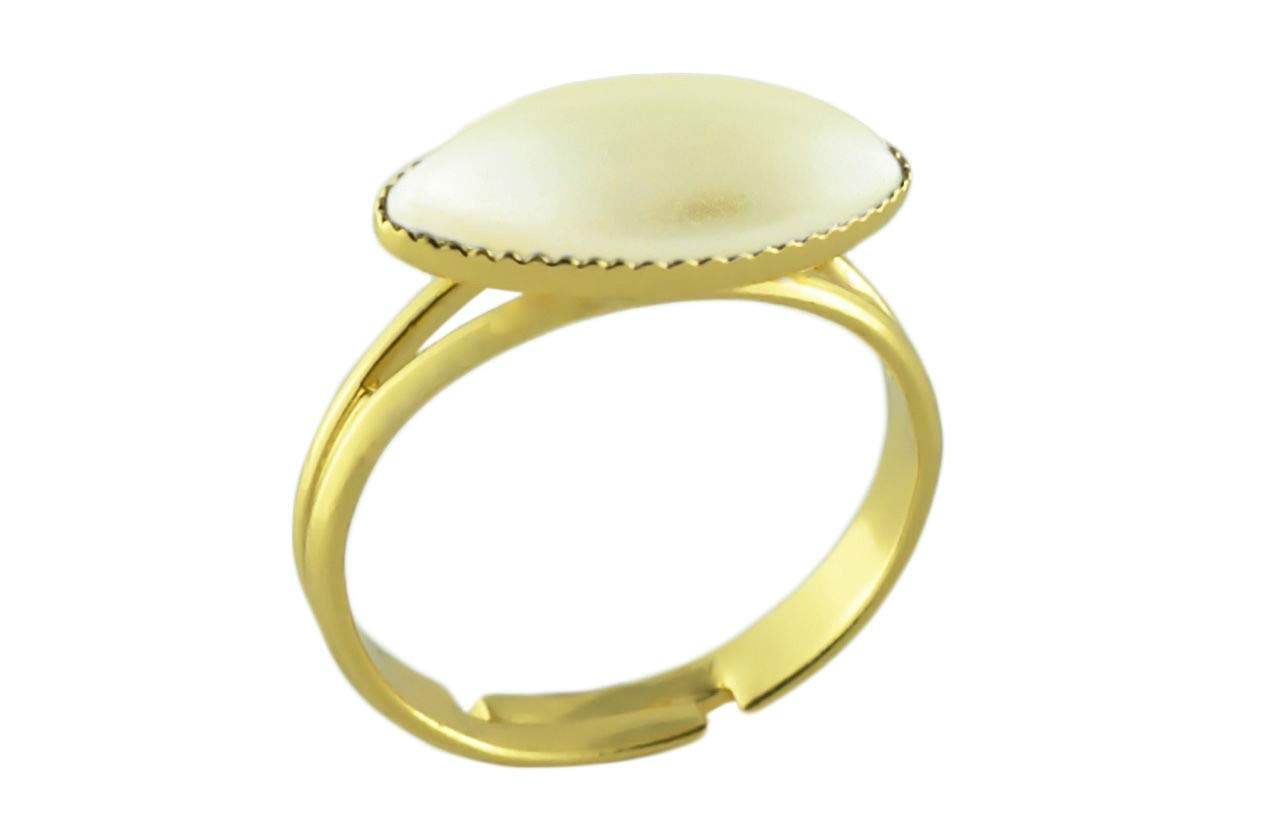 24K Gold Plated Fantasy Ring Universal Adjustable Size Cream Pearl Flower Petal Oval Czech Glass Stone Handmade BohemStyle