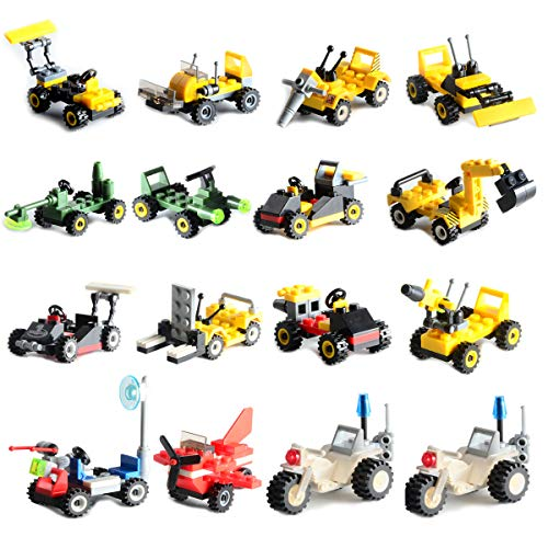 Mini Buildable Vehicles Set of 16,Building Toy for Party Supplies,Birthday Favors for Kids,Gifts