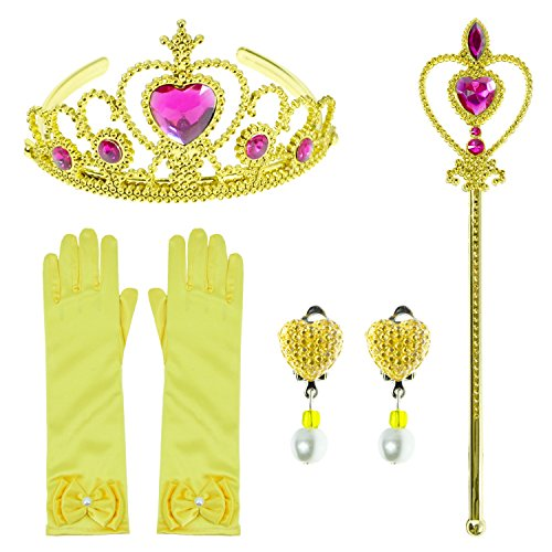 Little Girls Toddler Princess Belle,Rapunzel,Aurora Dress Up Party Accessories set With Gloves,Crown,Wand,Clip Earrings (4pcs)