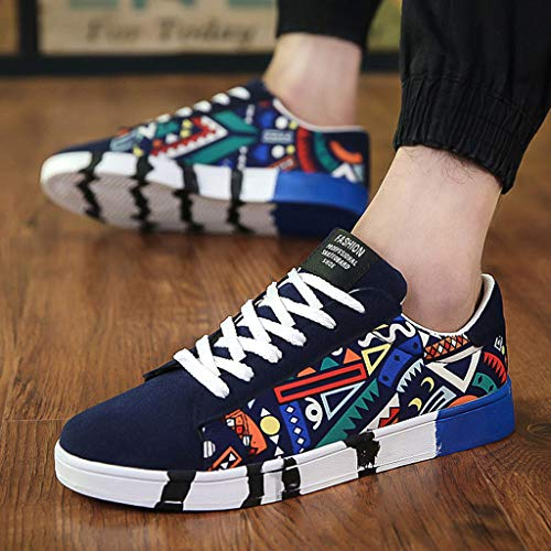 Zapatillas Color Para Con Hombre Cordones Casual 2019zapatillas De Moda Lona Azul Deporte Graffiti YfqwHavX