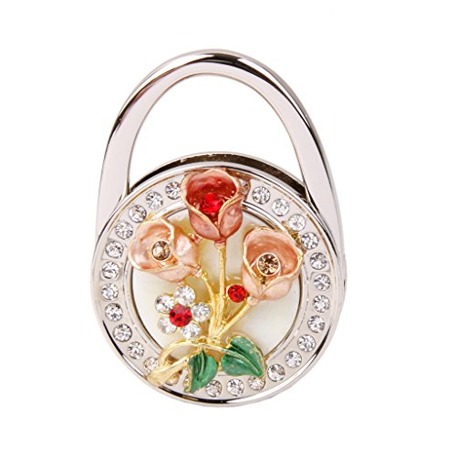 [Jili Online Rose Flower Rhinestone Folding Handbag Tote Purse Hanger Hook Holder Multicolor - Red] (Online Purses)