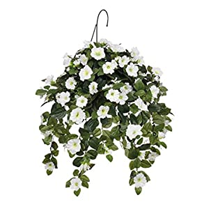House of Silk Flowers Artificial White Petunia Hanging Basket 57