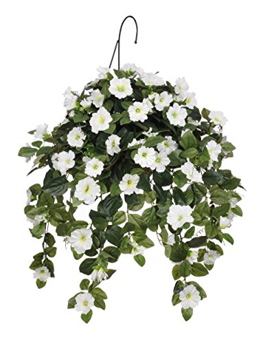 House of Silk Flowers Artificial White Petunia Hanging Basket