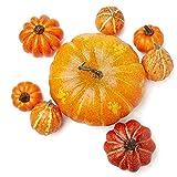 Factory Direct Craft Group of Assorted Size Artificial Pumpkins for Indoor Decor - 8 Pumpkins