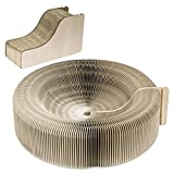 Pawaboo Cat Scratcher Lounge Bed - Premium Collapsible Recycled Corrugated Cardboard Scratching Toy Pad Lounge Round Bed with Catnip for Cat Kitty Kitten, Beige