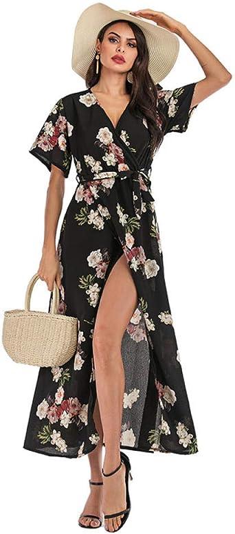 QPXZ Langarm Kleid Taillenkleid Mit Schlitzdruck Und V-Ausschnitt Und Großer Schaukel-Nr. 1 Anzug_S: Odzież