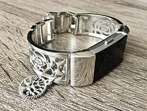 Silver Color Jewelry for Fitbit Charge 2 Band Silver Metal Bracelet for Fitbit Charge 2 Fitness Activity Tracker Vintage Tree Of Life Jewelry Adjustable Handmade Fitbit Charge 2 Band ()