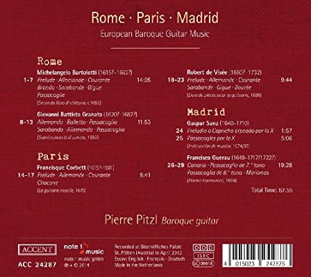 Roma, París, Madrid: Música Para Guitarra Barroca/Pitzl: Pitzl ...