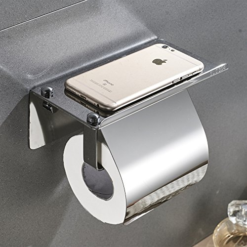 Velimax Toilet Paper Holder with Mobile Phone Storage Shelf Toilet Tissue Holder with Cover Wall Mounted, SUS304 Stainless Steel, No Drill, Chrome