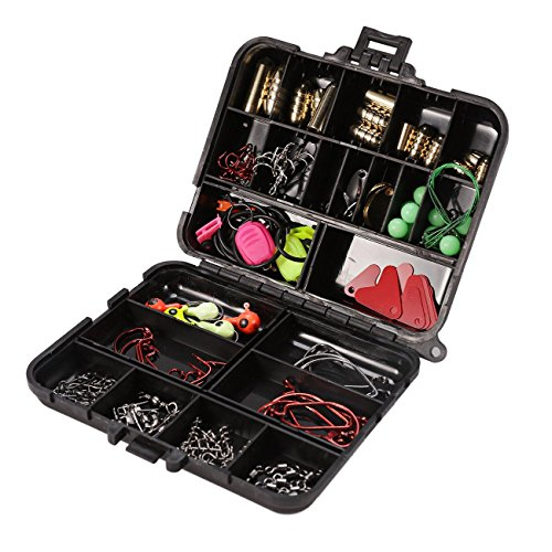 Dyna-Living 128Pcs/Set Fishing Accessories Set Carp Catfish Freshwater Saltwater Fishing Tackle Box – Hooks, Swivels, Double Loops, Spinners, Luminous Balls, Leaders, Line Stoppers, Jig Heads, Etc Review