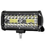 "7"" LED Light Pod 120W Triple Row LED Light Bar Spot Flood Combo Beam Fog Lights Waterproof LED Cubes Offroad Driving Lights for Truck Jeep UTV ATV Motorcycle Marine"