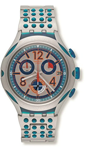 (Swatch 16 Dots Chronograph Grey and Blue Dial Aluminium Unisex Watch YYS4007AG)