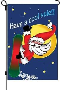 Premier Kites 51881 Bandera de jardín brillante, snowboard Santa, 30,48 x 45,72 cm