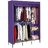 Portable Clothes Closet Armoire Wardrobe Double Rod Closet Storage Cubes Organizer Cabinet (VIOLET)