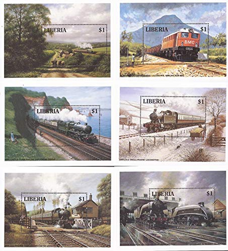 Liberia - 1994 Locomotives - Set of 6 Souvenir Sheets - Scott #1165-70 ()