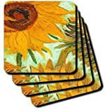 3dRose cst_100929_4 Picture of Van Goghs Heavily Textured Painting Sunflower-Ceramic Tile Coasters, Set of 8