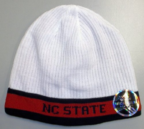 adidas North Carolina State Wolfpack White-Red 2010 Sideline Players Reversible Knit Beanie