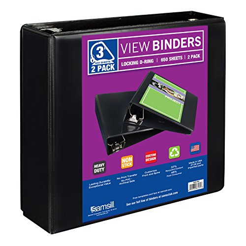 "Samsill Heavy Duty 3 Ring Binder, 3"" Locking D-Rings, Customizable Clear View Binder, 2 Pack, Black"