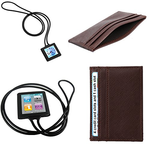 Ipod Nano Black Neck Strap - PiGGyB Long Tail Monkey Silicone Case Leather Wallet Set for Apple iPod Nano 6 8gb and 16 (Black Brown)