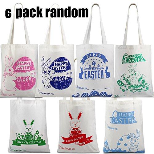 6 Self Customize Value Pack Easter Bags For Easter Egg Hunt,