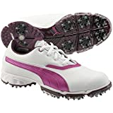 PUMA Women's Biopro Golf Shoe Spiked, White/Italian Plum/Purple Wine, 9.5 M US