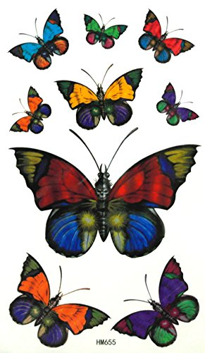 """TT-SET-A004 - 3 Sheets (2 Butterfly Tattoos, 1 Angel Tattoos) of Temporary Tattoos, Fashion Tattoos, Body Tattoos Pictures - DIY Temporary Tattoos For Adults - Approx. Size : 6.25""""x3.5"""""""