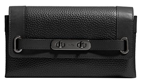 Coach Pebble Leather Swagger Wallet in BlackF53028 MW/BK by Coach