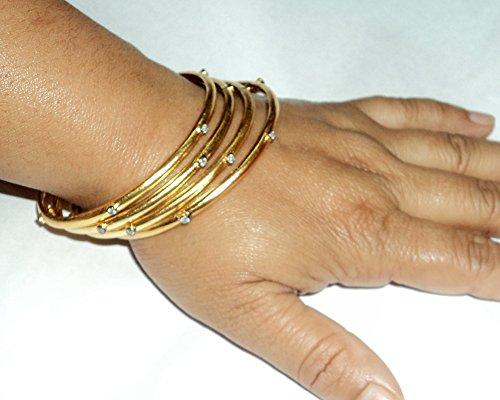 4Pcs Rose Cut Diamond Bangle - 14K gold Plater Silver Rose Cut Diamond Bangle - Bridal Diamond Bangle Jewelry - Sterling Silver Diamond Bangle (Cut Rose Bangle Diamond)