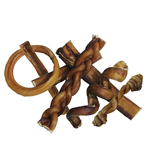 Bully Stick Variety Pack - Includes 7 Different Thick Low-odor Bully Sticks for Dogs, Best Beef Pizzle Stix Dog Treats, & Natural Dental Dog Chews: Straight, Braided, Ring, Spring, & More - Braided Spring