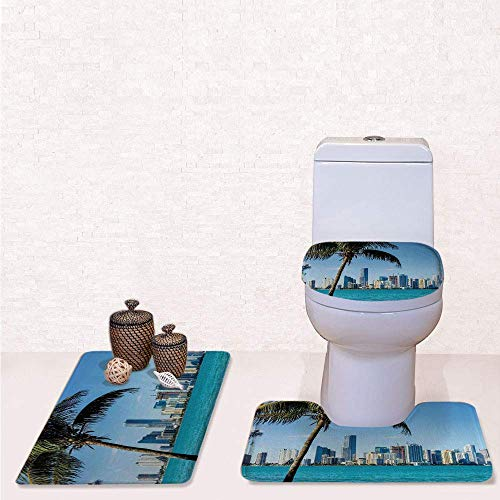 Print 3 Pcss Bathroom Rug Set Contour Mat Toilet Seat Cover,Miami Downtown with Biscayne Bay Buildings and Palm Tree Panoramic with Sky Blue Aqua Green,decorate bathroom,entrance - Biscayne Bay Miami