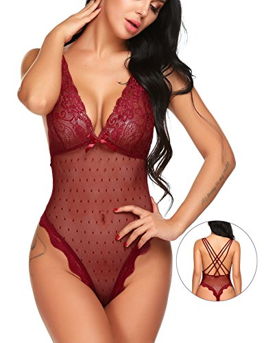 Sexy Stretch Lace Baby Doll (Avidlove Women See Through Lingerie Lace Teddy Babydoll Wine Red M)