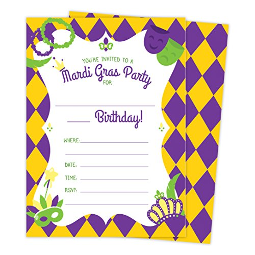 Gras Mardi Birthday Invitations (Mardi Gras Happy Birthday Invitations Invite Cards (25 Count) With Envelopes & Seal Stickers Boys Girls Kids Party)