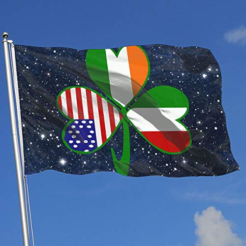 Italian Irish American Shamrock Banner Flag Decor Flag Outdoor Garden Flag 3'X5' House Banner
