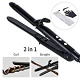 MARNUR Hair Straightener & Curler 2 in 1 Flat Iron Curling Wand with Digital Temperature Controls, Fast Heating Technology, Anti-scalding Insulated Tip, Ceramic Coating (0.9 Inch /200℉ to 400℉)