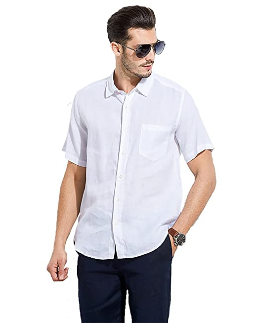 3868f58ace96 UAISI Leinenhemd Herren Slim Fit Sommer Kurzarm Freizeithemd Weiß  Amazon.de   Bekleidung