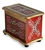 NOVICA Handcrafted Reverse Painted Glass Jewelry Box, Red 'Scarlet Splendor'