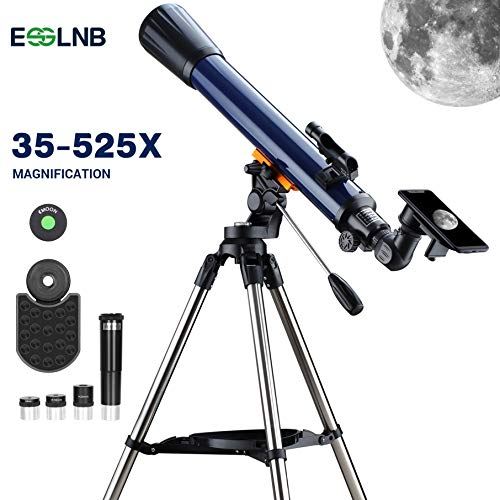 ESSLNB Telescope 70mm Telescopes for Astronomy Beginners Erect-Image with K4/10/20 Eyepieces Moon Telescope with Smartphone Adapter Red Dot Finderscope