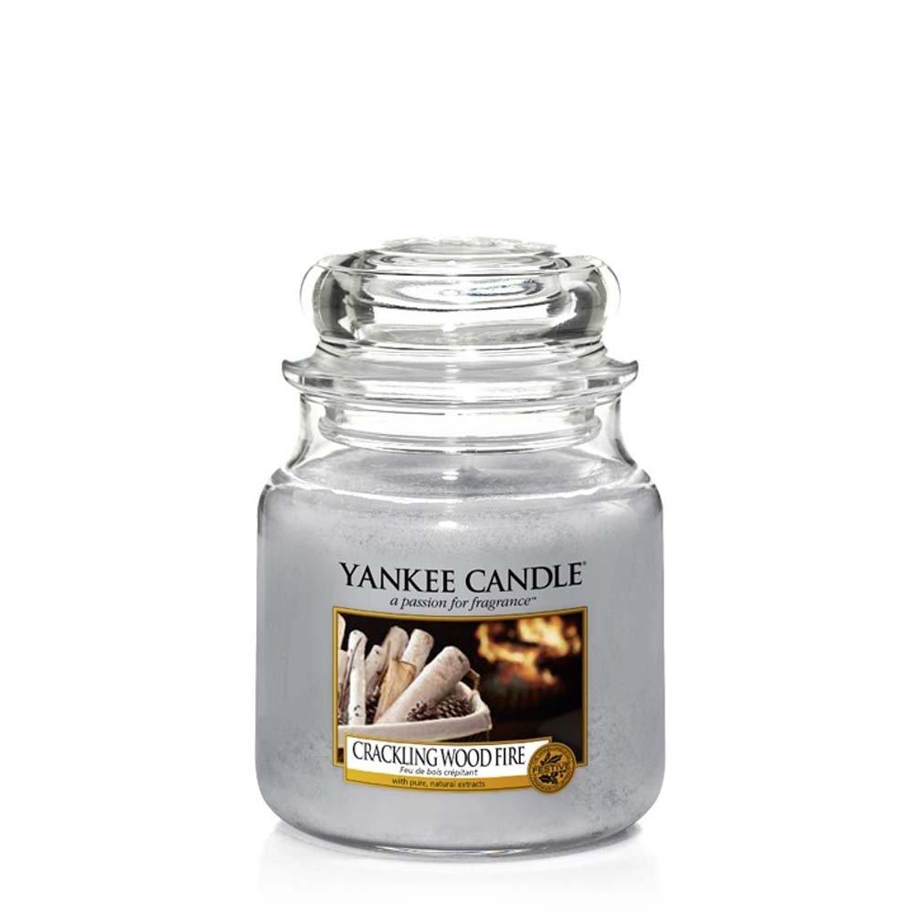 Yankee Candle Glaskerze, mittel, Crackling Wood Fire, grau, 10,7 x 10,7 x 12,7 cm 1556293E