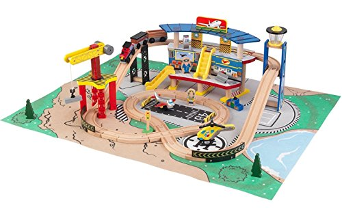 Kidkraft Transportation Station Train Set with Roll-Up Felt Play Mat - 2016 Exclusive Edition (Station Train Set)