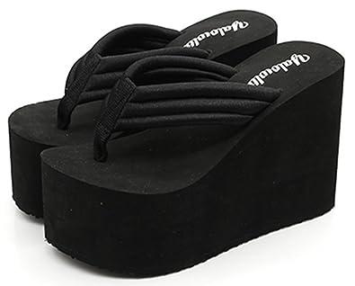 34d46d40922d IDIFU Women s Comfy Wedge Platform Thong Sandals with Heels Beach Holiday Summer  Flip Flops Black 4