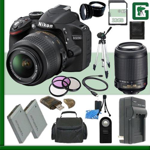 Nikon D3200 CMOS DSLR Camera with 18-55mm VR Lens (Black) + Nikon 55-200mm f/4-5.6G ED IF AF-S DX VR Lens + 32GB + Green's Camera Bundle