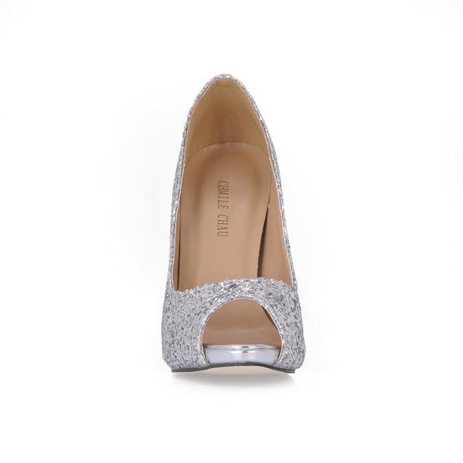 2201f280364f CHMILE CHAU Silver Glitter Bridal Women Pumps Sexy Stiletto High Heels Peep  Toe Ladies Courts Shoes: Amazon.co.uk: Shoes & Bags