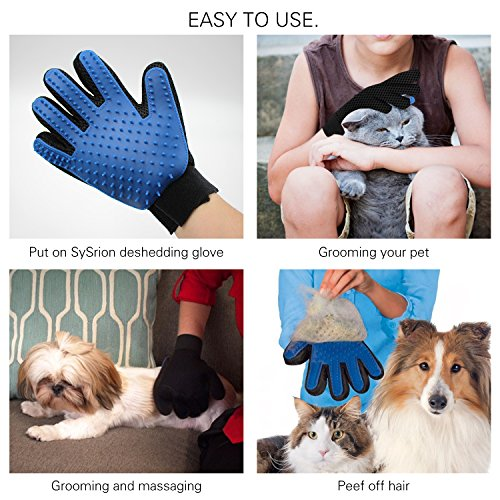 Deshedding-Glove-for-Gentle-and-Efficient-Pet-Grooming-by-SySrion-FREE-Pet-Grooming-Tool-Extra-Fine-Toothed-Flea-Comb-CatDog-Stainless-Steel-Brush-Comb-Included-White