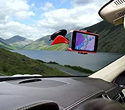 Onyx Cell Phone Car Mount Compatible with Apple iPhone 6S, Samsung Galaxy S6 and Below, Nokia Lumia, HTC, or any Device upto 3.5-Inch - Red & Black