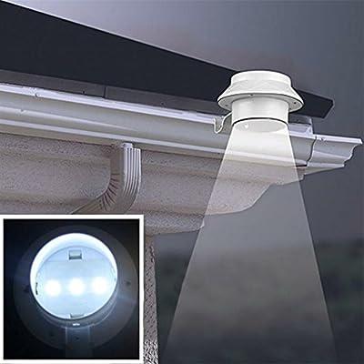 Xiangtat 3 LED Solar Energy Saving Light for Outdoor Garden Landscape Yard Fence Gutter Wall Roof Backyard Lighting Hand Lamp