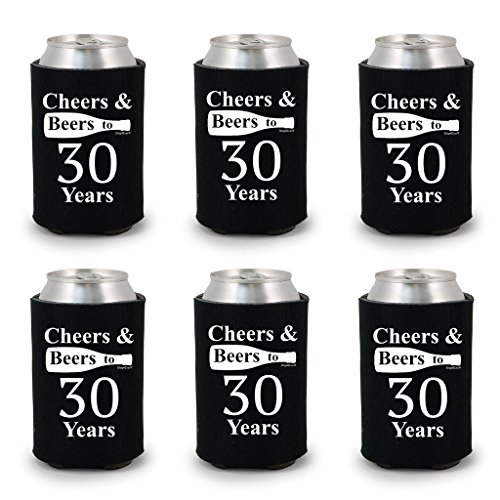 Shop4Ever Cheers & Beers to 30 Years Can Coolie Birthday Drink Coolers Coolies Black - 6 Pack
